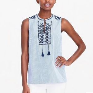 J Crew Embroidered Striped Tank Top